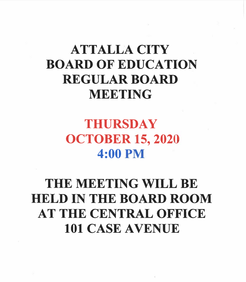October Board Meeting Announcement