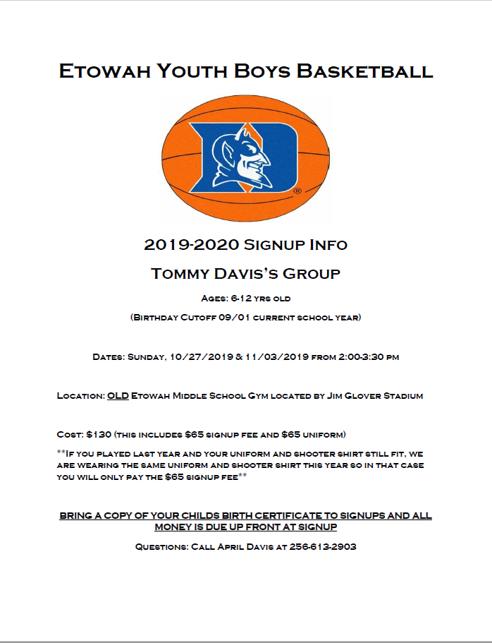 Etowah Youth Basketball Sign-Ups