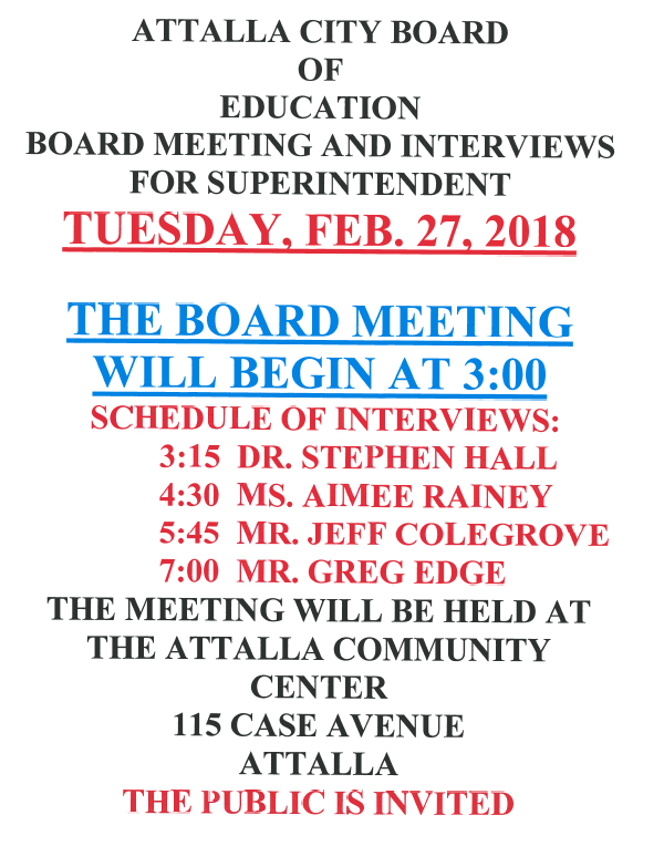 ACS - Superintendent Interviews Schedule